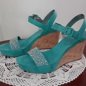 Nine West Turquoise Suede Wedge Sandals